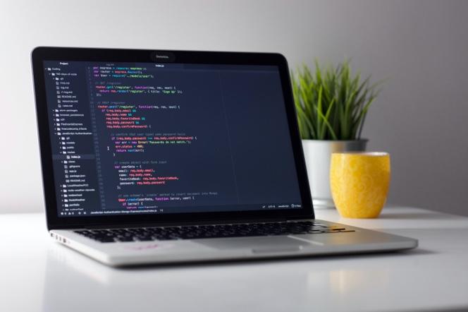 Code on laptop